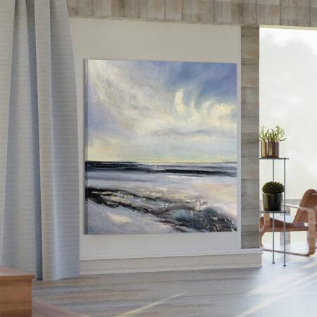 Duży Ręcznie Malowany Obraz Zawieszony w Salonie