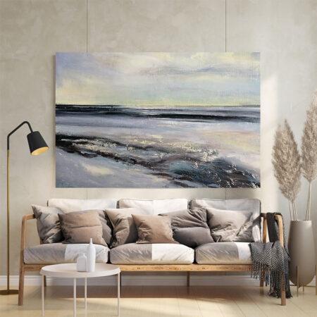 Poziomy Obraz Podróż Morska - obraz ręcznie malowany nad sofą